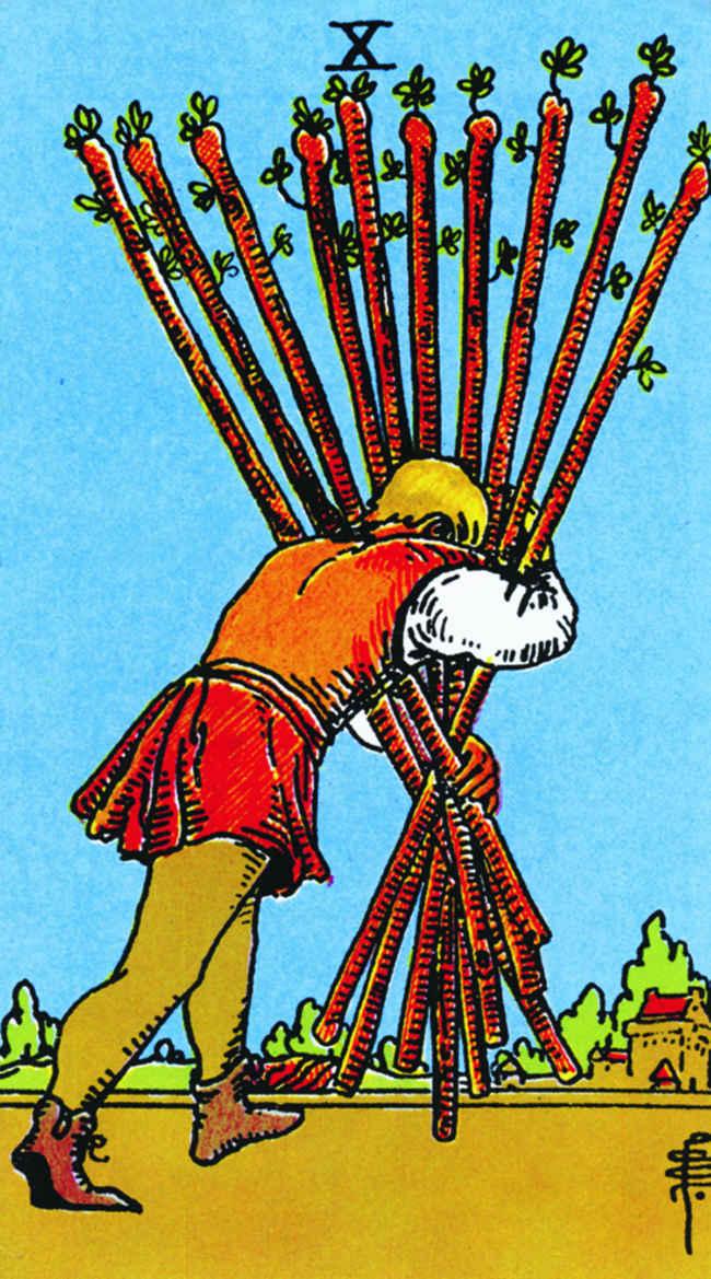 Десятка жезлов (младший аркан Таро): значение карты, идеи, совет, фото